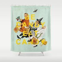 eat Shower Curtains featuring Be Dandy Eat Candy by Heather Landis