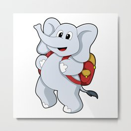 Elephant with Backpack Metal Print