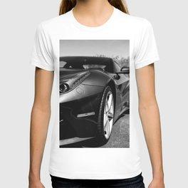 Super Car // Front Wheel Base Low Rims Dark Charcol Gray Black and White T-shirt