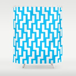 Tukutuku Family - kea blue mid Shower Curtain