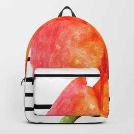 Tulip flower and black stripes Backpack