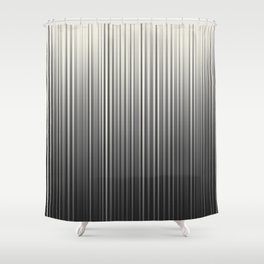 Soft Industrial Cream and Black Blended Random Vertical Lines Shower Curtain