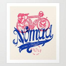 Bicycle Nomad - travel bike label Art Print