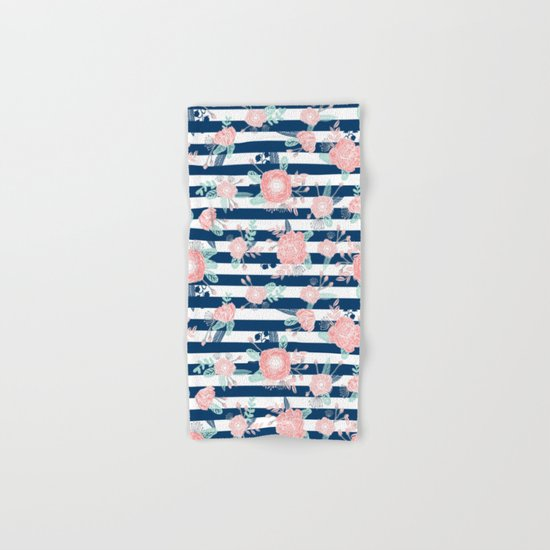 Florals bouquet navy stripe modern classic pattern print nautical preppy chic kids children college  Hand & Bath Towel