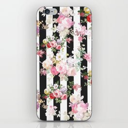 Bold pink watercolor roses floral black white stripes iPhone Skin