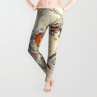 wood Leggings featuring The Wave of Love by Huebucket