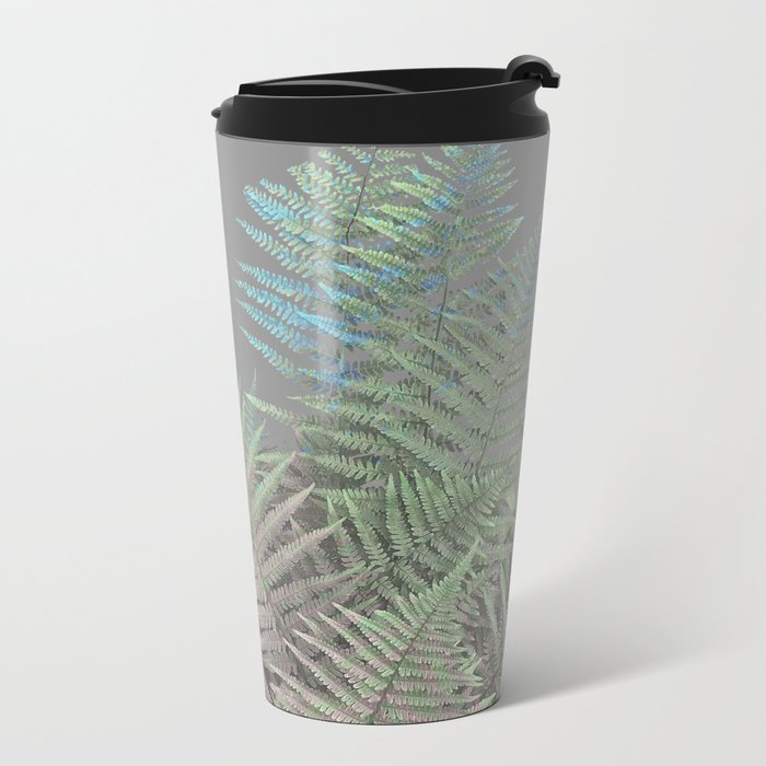 Rainbow Fern on Grey #decor #buyart #foliage Metal Travel Mug