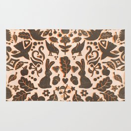 Two Rabbits - folk art pattern in tan, brown, cream & orange Rug