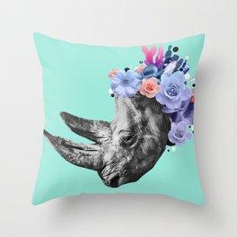 Floral Rhino Throw Pillow