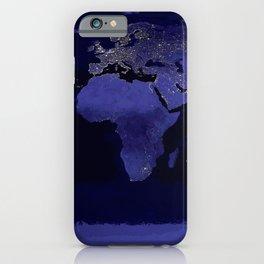 World Map Dark Periwinkle Blue iPhone Case