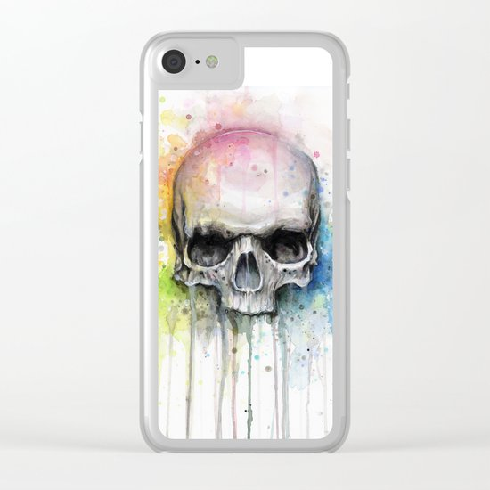 Skull Rainbow Watercolor Painting Clear iPhone Case