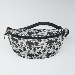 White lilies on a black background . Fanny Pack