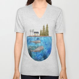 Whales are watching you Unisex V-Neck