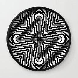 Rhombuses with cross (black-white) Wall Clock