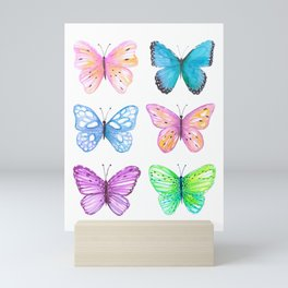 Vibrant butterflies watercolor Mini Art Print