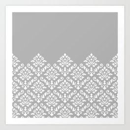 Damask Baroque Part Pattern White on Grey Art Print