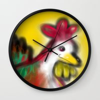 thanksgiving Wall Clocks featuring Thanksgiving Revenge Turkey by ANoelleJay