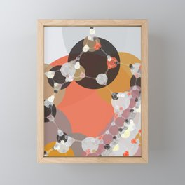 fiona - bright abstract coral pink mustard melon brown dusty rose grey peach Framed Mini Art Print