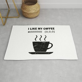 I Like My Coffee Black Hex Code RGB Programmer Graphic Designer Nerd Funny Rug