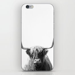 Highland cow | Black and White Photo iPhone Skin