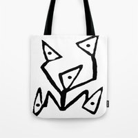 android Tote Bags featuring PARANOID ANDROID by Ian Meth