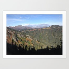 Mountain view shadow trees Art Print