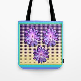 Exotic Lilac-Purple-BlueTropical Flowers yellow Optic Art Tote Bag