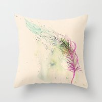 breathe Throw Pillows featuring Breathe  by rskinner1122