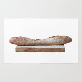 Baguette stuffed with cheese, salad, baked ham Rug
