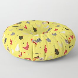 Chicken Farm Modern Geometric Memphis Style - Yellow Black Red Floor Pillow