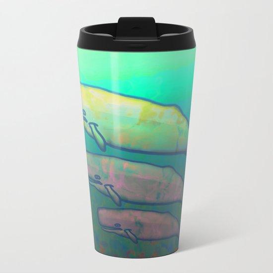 Whales Swimming Together Metal Travel Mug