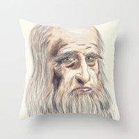 da vinci Throw Pillows featuring Leonardo da Vinci Colorful by André Minored