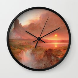 Frederic Edwin Church - Eruption at Cotopaxi - Hudson River School Oil Painting Wall Clock