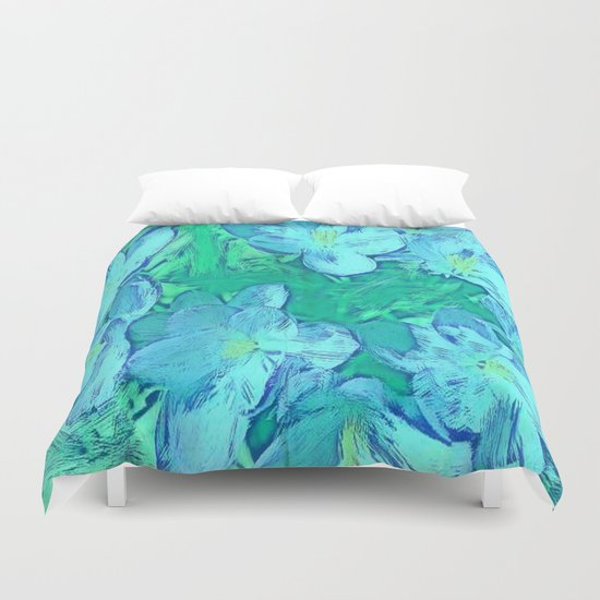 Ocean Floral Abstract - Painterly Duvet Cover