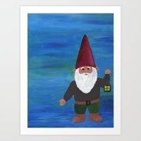 gnome Art Prints featuring Gnome by rebecca oravec