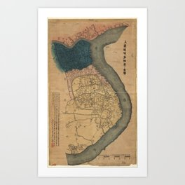 Map of Shanghai, China (1884) Art Print