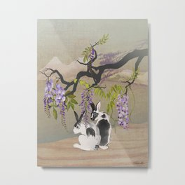 Two Rabbits Under Wisteria Tree Metal Print