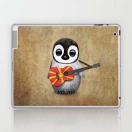 Baby Penguin Playing Macedonian Flag Acoustic Guitar Laptop & iPad Skin