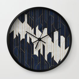 Dark Navy Blue Stone Towers Wall Clock