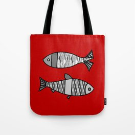 Retro Modern Fish, Deep Red and Gray / Grey Tote Bag
