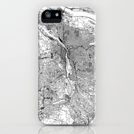 Portland White Map iPhone Case