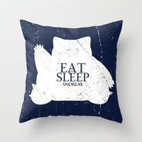 snorlax Throw Pillows featuring House Snorlax by Alecxps