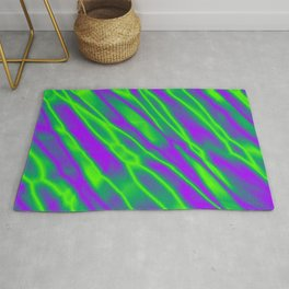 Shiny plaid metal with green intersecting diagonal lines. Rug