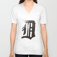 detroit V-neck T-shirts featuring Detroit by Landon Sheely