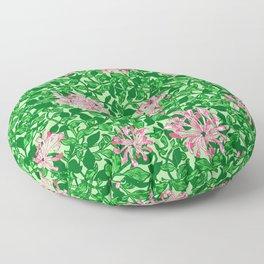 William Morris Honeysuckle, Pink and Emerald Green Floor Pillow