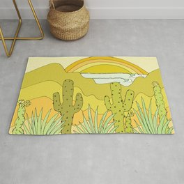 desert vibes wave visions // retro surf art by surfy birdy Rug