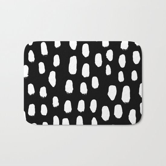 Spots black and white minimal dots pattern basic nursery home decor patterns Bath Mat