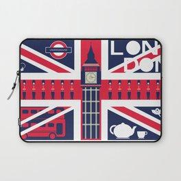 Vintage Union Jack UK Flag with London Decoration Laptop Sleeve