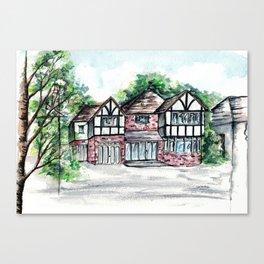 English Tudor-Style House, Watercolour Painting Canvas Print