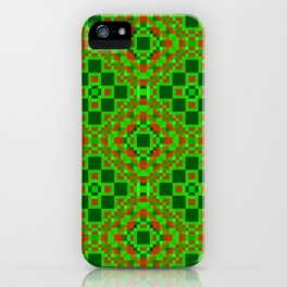 EVERGREEN abstract holiday quilt pattern red and shades of green iPhone Case